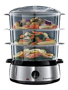Russell 19270-56 Hobbs Cook@Home - Vaporera, 800 W, Cocina Lenta, Sin BPA, Acero Inox, Capacidad para 9 litros