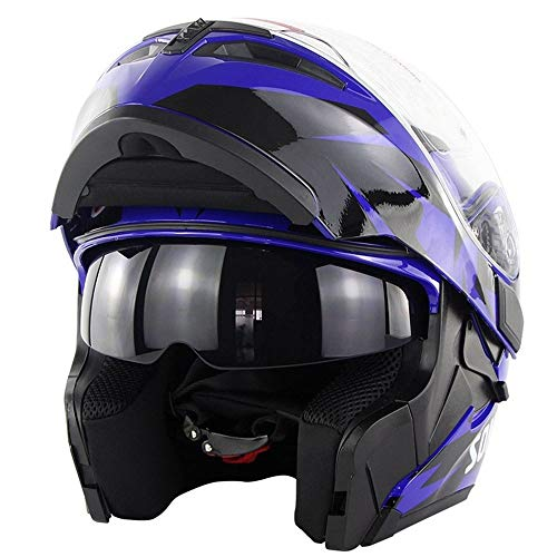 ChenTeShangMao Persönlichkeit Cool Helm Erwachsenen Doppel Objektiv Motorradhelm Sicherheit Atmungsaktiv Komfort Helm 3D Futter - Sky Eye Blue Gute Qualität (Size : L)