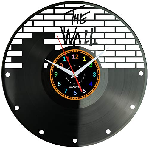 EVEVO PINK Floyd Wanduhr Vinyl Schallplatte Retro-Uhr Handgefertigt Vintage-Geschenk Style Raum Home Dekorationen Tolles Geschenk Wanduhr PINK Floyd