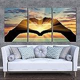 3 Paneles Carteles Arte de la pared Pintura en lienzo Corazones Gesto Mar Amanecer Imágenes para parejas Decoración para sala de estar 30x40cm (12x16in) x3 Con marco