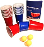Red & Blue BeerCups Party Pack - Rote & Blaue Becher für Party & Beer Pong inkl. Bälle und...