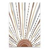 QND,Mural,Abstracto Sol Cara Luna Planta Naranja Lienzo Arte Pintura de Pared Carteles e Impresiones Cuadros de Pared para Sala de Estar decoración del hogar, 05,50x70cm sin Marco