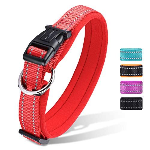 Hundehalsband Verstellbare, Gepolstertes Neopren Nylon Reflektierend Hunde Halsband Atmungsaktives für Welpen Kleine Mittlere Große Hunde - Rot - M