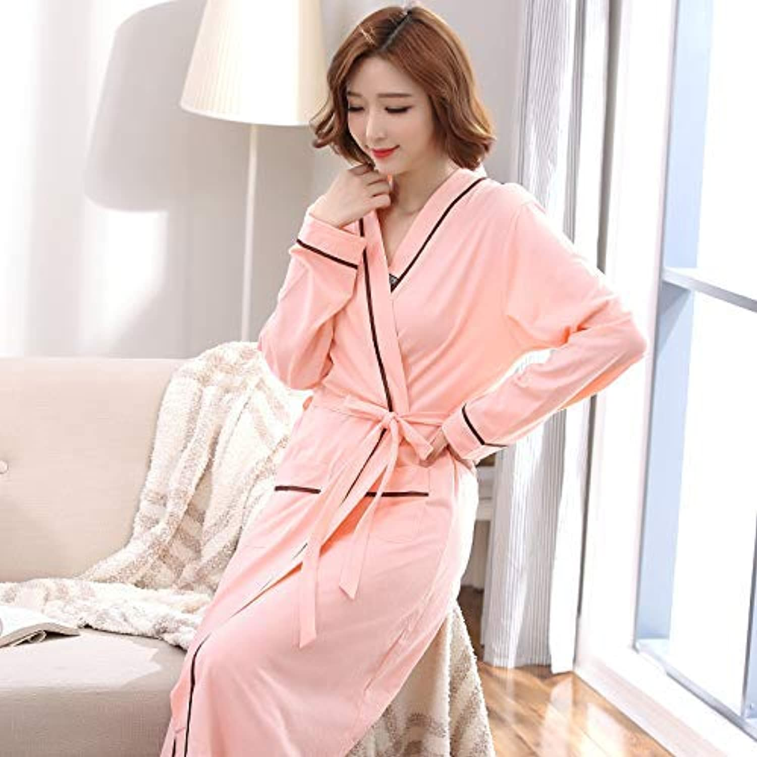 DALAI Nightgown Female Autumn Cotton LongSleeved Long Bathrobes Hotel Beauty Salon with Bathrobes Autumn and Winter Home Service (color   Pink, Size   XXXL) (color   Pink, Size   XXXL)