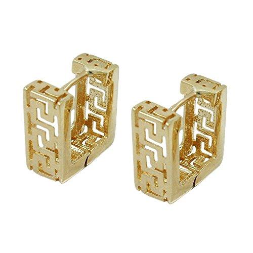 Paar Creolen Ohrringe Viereck mit altgriechischen Muster antik 375 Gold Gelbgold