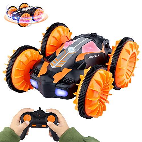 Baztoy Ferngesteuertes Auto, Spielzeug für Kinder, ferngesteuertes Auto, 4WD, RC LKW, wiederaufladbar, 360° drehbar, Flip-Geschenke für Jungen Mädchen, Kinder, Spiele im Innen- und Außenbereich