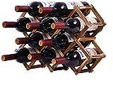 Delgeo Weinregal Holz für 10 Wein-Flaschen - Größe 47 x 31 x 12.5 cm (LxWxH) Wine Rack Kann Horizontal oder Vertikal Platziert Werden