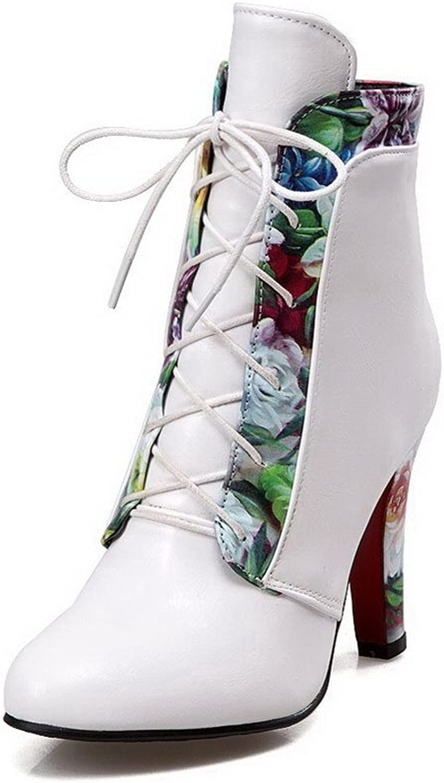 WeenFashion Women's High-Heels Soft Material Low-Top Assorted color Zipper Boots