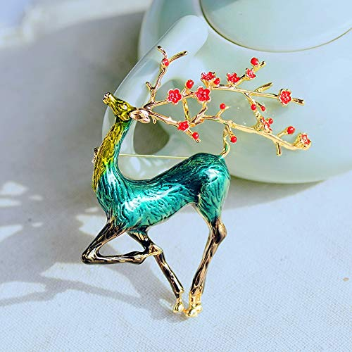 XUBB DCDXZ Elk Moose Animal shapeBrooch Pin Vintage Brooches and Pins Jewelry Metal Big Broach Accessories For Women green