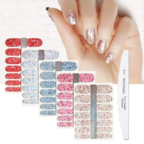BornBeauty 5pcs Glitter Nail Wraps Polish Decal Strips With 1Pcs Nail File Adhesive Shine Nail Art Stickers Manicure Kits For Women Girls (2)