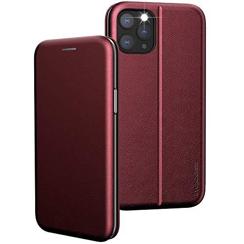 BYONDCASE iPhone 12 und 12 Pro Hülle Rot [Premium iPhone 12 PU Leder Flip-Hülle Handytasche] mit Kartenfach, Magnetverschluss, Standfunktion fürs Apple iPhone 12 und 12 Pro
