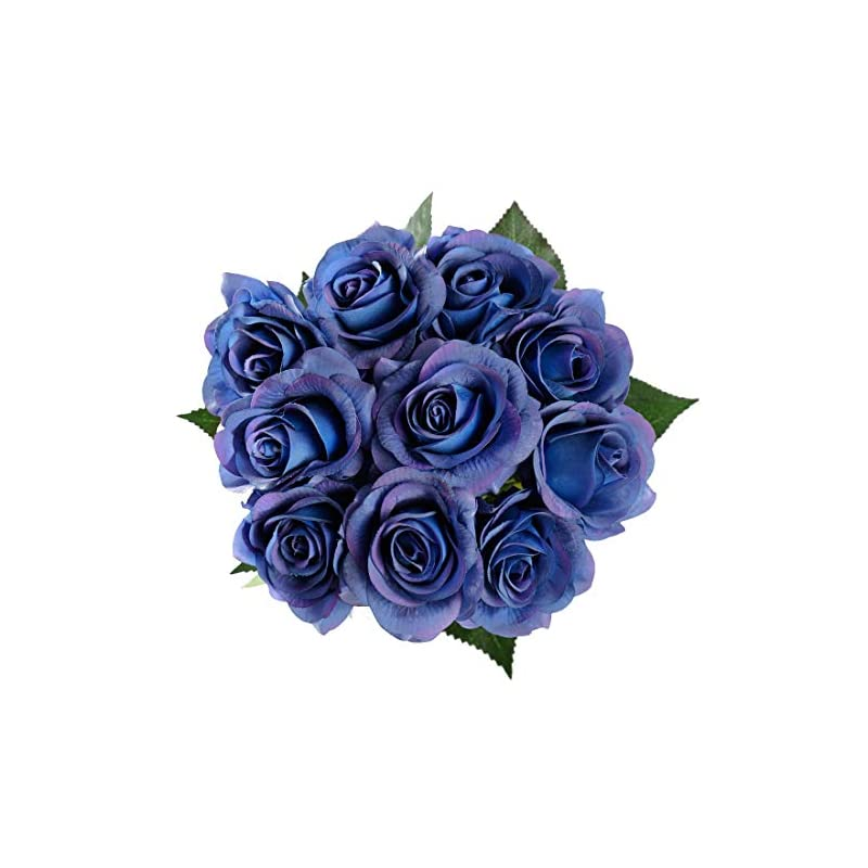 silk flower arrangements starlifey artificial flowers real touch blue rose wedding bouquet silk roses posy thanksgiving day/valentine's day/wedding/home decorations pack of 10