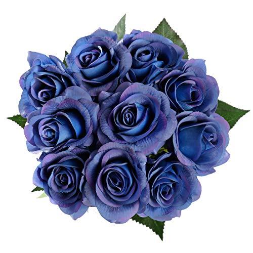 StarLifey Real Touch Schöne Echtes Moisturizing Curling Knospe Latex künstliche Rose 10 Stück Kunstblumen Blume Dekoration Braut Blumenstrauß Blumenarrangement deko Blau