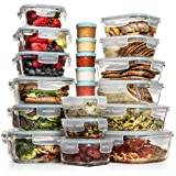 Razab 35 Pc Set Glass Food Storage Containers with Lids - Glass Meal Prep Containers Airtight Glass...
