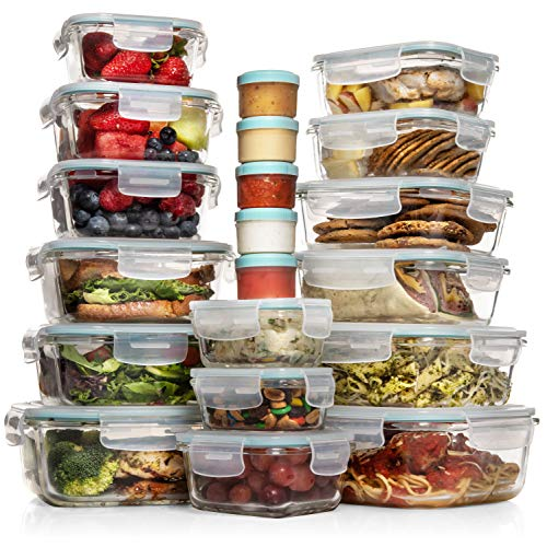 Razab 35 Pc Set Glass Food Storage Containers with Lids  Glass Meal Prep Containers Airtight Glass Bento Boxes BPAFree 100% Leak Proof 15 lids15 glass amp 5 Plastic Sauce/Dip Containers