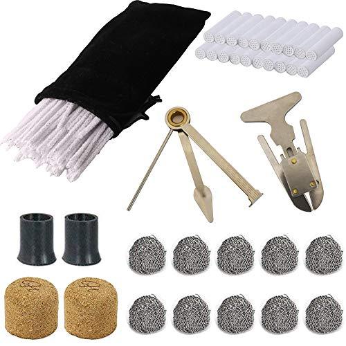 CESFONJER Tabacco Pipa Kit - 10 Palle di Metallo, 80 Scovolini per La Pulizia della Pipa,20 Filtri per Pipa (9mm), 2 corcho, 2 Bocchino per Sigaro, 1 Reamers Tamper, 1 ipe alesatore e Pipe Pouch