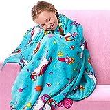 GirlZone Geschenke für Mädchen -Einhorn Kuscheldecke für Mädchen Flauschige Bunte Fleecedecke Kawai -Warme weiche Decke -Kuscheldecke Geschenk Kinder Kinderzimmer als Bettdecke