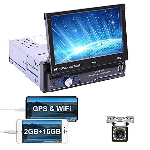 Autoradio Android 1 DIN GPS 7 pollici Touch screen capacitivo pieghevole Bluetooth Radio FM Collegamento specchio per telefono Android iOS 3 Ingresso USB AUX + fotocamera posteriore