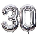Meowoo Globo Número 30 Año Globo de Cumpleaños Foil Globo Gigante Helio Globo de Papel de Aluminio 100cm 40 Pulgada Fiesta de Aniversarios Suministros Decoración (Plata)