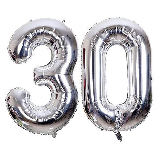 Meowoo Helium Luftballon 30 Riesen Geburtstag 100CM Folienballon 40 Zoll Zahl 30 XXL Geburtstag Party Dekoration Supplies Geburtstagsdeko (Silber)
