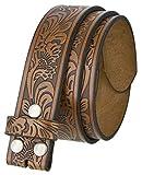 BS220 Western Floral Engraved Embossed Tooled Genuine Leather Belt Strap w/Snaps 1 1/2' Wide (Brown, 36)