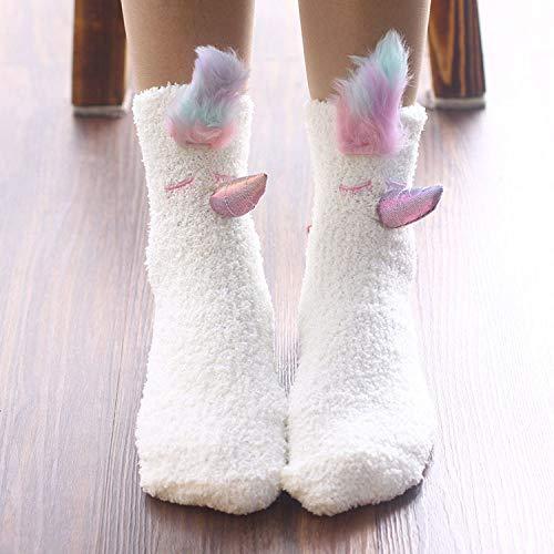 BAONUANM Slipper Sokken, Winter Warm Dikke Zachte Slip Wit Eenhoorn Volwassen Slipper Sokken Midden Tube Tapijt Sokken Kerstmis Nieuwjaar