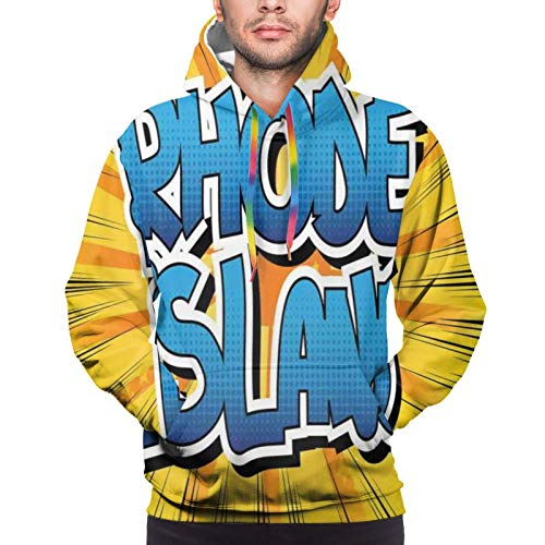 Men's Hoodies Sweatshirts,Abstract Comic Book Style Beamed Background with Bold Font Dotted Letters,Small