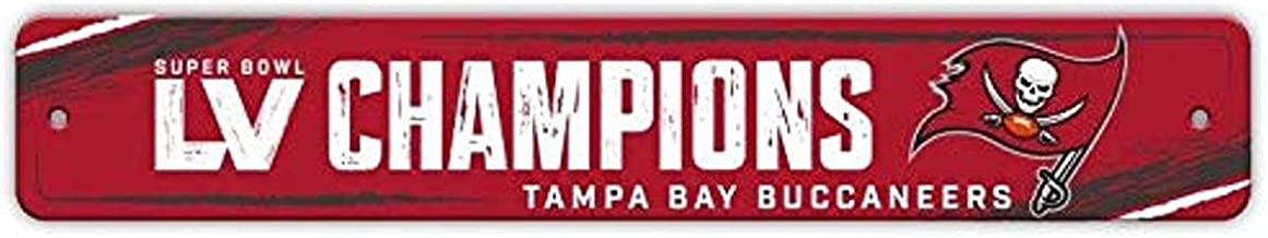 Fremont Die NFL Tampa Bay Buccaneers 2021 Super Bowl LV Champions Street Sign, Team Colors