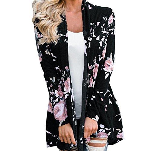 Sannysis Cardigan Largo Floral Bohemio de Las Mujeres Kimono Abierto Abrigo Casual cn Outwear Algodón Mujeres Kimono Largo Chaqueta de otoño Primavera (M, Negro Flor)