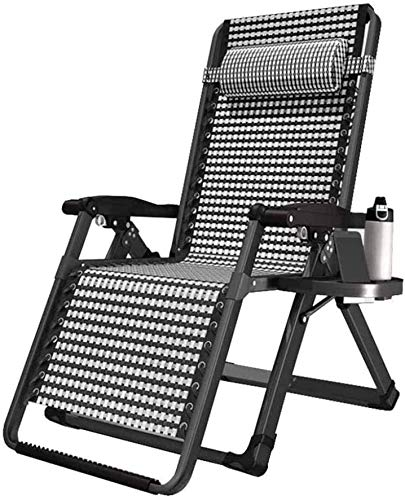 ZLGE Outdoor Lounge Recliner Chair Lounge Chair Deck Chair - Zero Gravity Relax Deck Chair - Family Lunch Garden Adjustable Portable Lounge Chair
