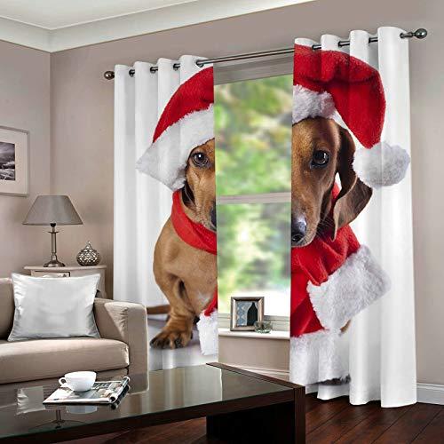 ANAZOZ 2 Cortinas Salon Cortinas Exterior Poliester Perro con Sombrero de Navidad y Bufanda Marrón Rojo Blanco Cortina Salon Tamaño 264x183CM