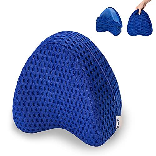 BUONSON Almohada para Piernas y Rodilla con 2 Fundas Ideal para ciática, Caderas, articulaciones, Alivio de Dolores de Embarazo y Dormir de Lado - Cojín Ortopédico (Azul)