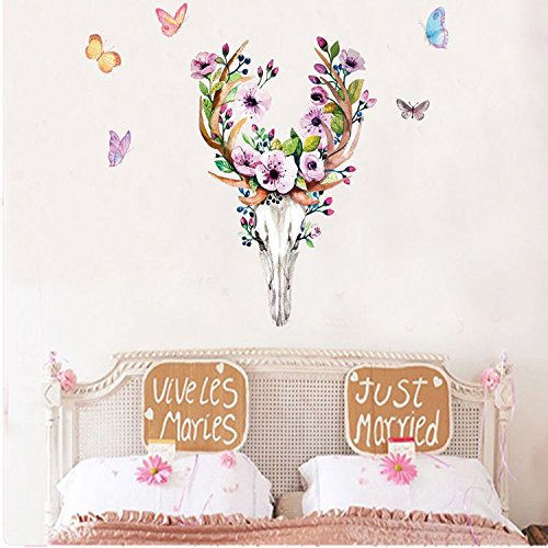 Mznm Sika Deer Schedel Muurstickers Mode Woonkamer Slaapkamer Vlinder Fluitjes Behang Verwijderbare Vinyl Decals Muren Home Decor