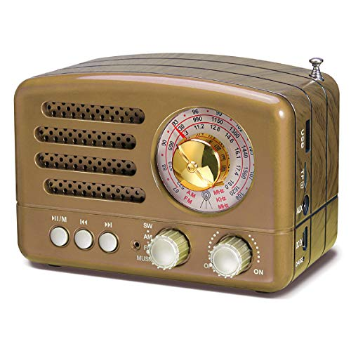 PRUNUS J-160 Portable Battery Radio Retro with Bluetooth Speaker, AM FM SW Small Vintage Radio,upgrade 1800mAh Rechargeable Battery Operated,Supports TF Card AUX USB MP3 Player(Gold) …
