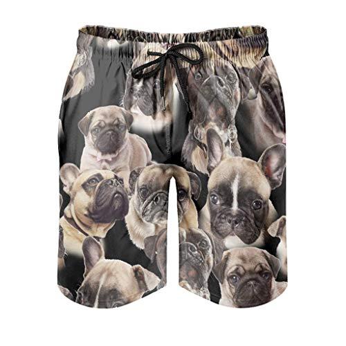 Pug Dog Men's Swimming Shorts Quick Dry Fashion Boardshorts with Elastic Drawstring Pockets for Surfing Swiming Running,M