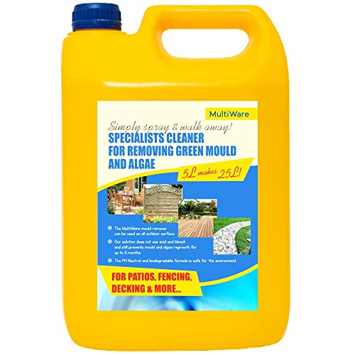 MultiWare Patio Cleaner Simply Spray and Walk Away Green Mould and Algae Killer for Patios, Fencing, Bricks, Timber and Decking 5 Litre Concentrate Mixed with Water makes 25 Litres / Strong Cleaner