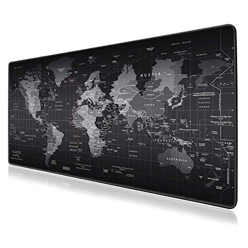 """VIPAMZ Extended Xxxl Gaming Mouse Pad - 35.4""""x15.7""""x0.12"""" Dimension - Portable with Extended XXL Size - Non-slip Rubber Base - Special Treated Textured Weave with Precision Control (worldmap)"""