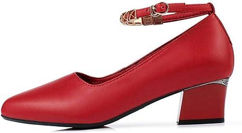 YTTY Printemps Chaussures pour Femmes à Talon Bas avec Chaussures de Mode Slender Buckle, Rouge, 36