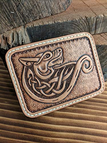 Carved wallet,Hand Tooled Leather Front Pocket Wallet with Celtic Wolf Design, Slim Wallet, Mens Leather Walle