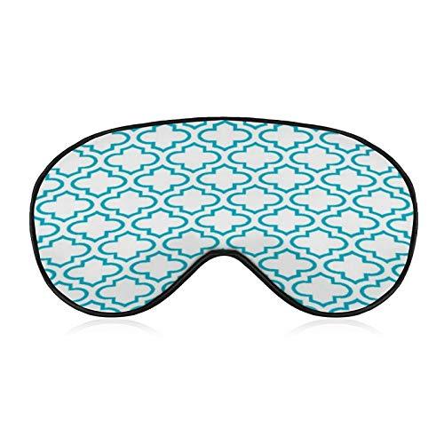 Schlafmaske, Bequeme und weiche Augenmaske mit verstellbarem Kopfband, Türkis Weiß Retro Chic Trellis Muster, Augenblinder für Reisen/Schlafen/Schichtarbeit