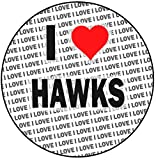 Decoración redonda para tarta con texto 'I Love Hawks', 20 cm