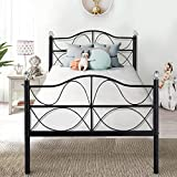 VECELO Single <span class='highlight'>Bed</span> <span class='highlight'>Frame</span> 3ft Metal <span class='highlight'>Bed</span>stead Base Vintage Platform Mattress Foundation Headboard Footboard with Crystal Ball for Kids Adults <span class='highlight'>Bed</span>room for Mattress190*90cm, Black