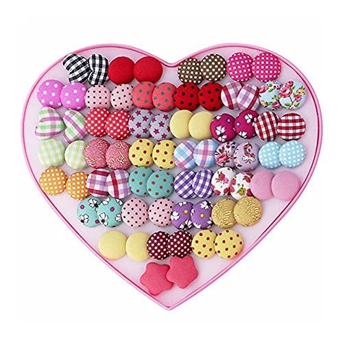 QXZ-WOLFBERRY Botón de 36 Redondo Pendientes de Pimiento Pendientes con Forma de corazón Pendientes de Amor en Caja (Color : AE0008)
