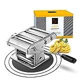 ALL EAZY HOME & KITCHEN - Máquina de pasta de acero inoxidable JUMMY – Máquina de pasta manual – Con manivela – Para lasaña, fetuccine, tagliolini – 9 niveles de masa