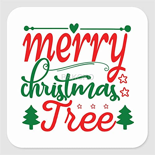 Merry Christmas Tree Label Stickers voor envelop, tas, kleine zakelijke benodigdheden, set van 50 vierkante vinyl…