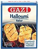 Gazi Halloumi Natur - 1x 250gramm Vakuum - Pfannenkäse Pfanne Grillkäse Grill Ofenkäse Ofen 43% Fett in Vakuumverpackung mit Minze Schnittkäse Käse mikrobielles Lab Halal vegetarisch glutenfrei