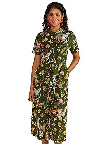 YUMI vrouwen Cheetah Print Shirt jurk Casual