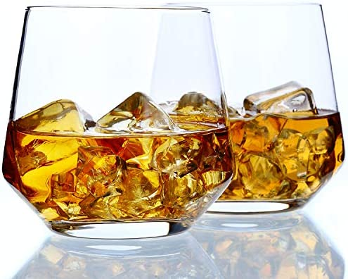 Whiskey Glass Set of 2 14oz Rocks Glasses Premium Hand Blown Old Fashioned Glass Amallino product image