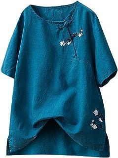 VEMOW Blusas y Camisas de Mujer Verano Tallas Grandes Algodón y Lino Vintage Floral Impresos Suelta Moda Tops de Túnica Ca...
