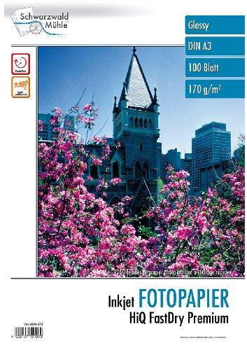 Schwarzwald Mühle Fotopapiere DIN A3: 100 Bl. Hochglanz-Fotopapier HiQ FastDry Premium A3 (Papier DIN A 3)